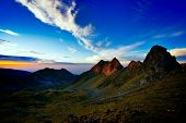 mountain landscape at sunset, Fagaras,  Romania