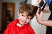 stock photo of barber  - Little boy at professional barber hair saloon - JPG