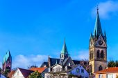 View of historical inner city of Bad Homburg, near Frankfurt, Germany