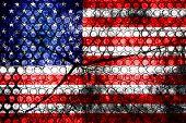 USA flag painted on grunge wall