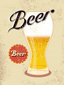Vintage style poster with a beer glass. Vector illustration.