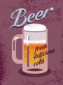 picture of drawing beer  - Vintage style poster with a beer mug - JPG