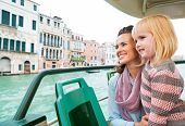 Mother And Baby Girl Travel By Venice Water Bus