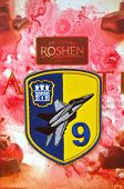 Illustrative editorial.Chevron of Ukrainian air force. 9 Aviation brigade.With logo Roshen Inc. Trademark Roshen is property of ukrainian president Poroshenko.At December 20,2014 in Kiev, Ukraine