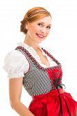 Bavarian girl isolated over white background