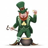 stock photo of leprechaun  - Illustration of smiling leprechaun with a cauldron full of golden coins  isolated on white - JPG