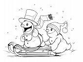 Snowmen on sled. Winter Activities