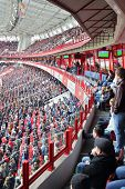 MOSCOW, RUSSIA - MAR 30, 2014: Tribunes with fans the stadium Locomotive
