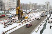 MOSCOW, RUSSIA - MAR 19, 2014: Schelkovskoe highway reconstruction in Moscow in winter