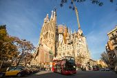 BARCELONA, SPAIN - DEC 23: La Sagrada Familia - the impressive cathedral designed by Gaudi, which is being built since Mar 19, 1882 and is not finished yet.