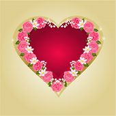 Heart With Pink Roses Vector