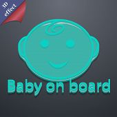 Baby On Board Icon Symbol. 3D Style. Trendy, Modern Design With Space For Your Text Vector
