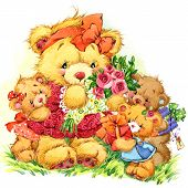 Teddy Bear. Background For Greetings Cards. Watercolor Illustration