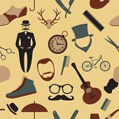 Vintage Barber, Hairstyle And Gentlemen Background. Seamless Pattern.