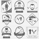 Set Of Vintage Barber, Hairstyle And Gentlemen Club Logos. Vector Templates And Badges