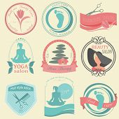 Set Of Vintage Hairstyle, Body Care And Cosmetology Logos. Vector Logo Templates And Badges