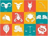 Set of Twelve Horoscope or Zodiac sign.
