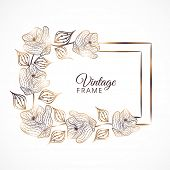 picture of vines  - Vintage frame with vine of golden roses and leaves on white background - JPG