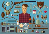 picture of hunter  - Flat modern design vector icons set of real man tools and equipment - JPG