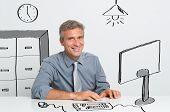 Portrait Of Happy Mature Businessman Sitting At Office Desk