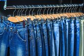 blue jeans in a shop