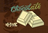Vintage Chocolate poster design. White chocolate pieces. Vector illustration