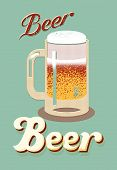stock photo of drawing beer  - Vintage style poster with a beer mug - JPG