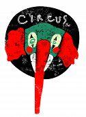 Circus retro poster. Elephant clown. Vector illustration