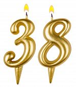 Birthday Candles Number Thirty Eight Isolated