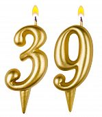 Birthday Candles Number Thirty Nine Isolated