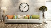 pic of house plants  - living room or saloon interior design with big wall watch 3d rendering - JPG