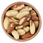 foto of brazil nut  - Raw brazil nuts in a wooden bowl from above - JPG