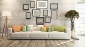 stock photo of wood design  - living room or saloon interior design photo frames 3d rendering - JPG
