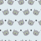 Cat And Paw Print Pattern