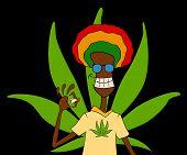 pic of rastafari  - cartoon portrait of rasta man with traditional clothes smoke - JPG