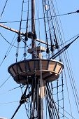 picture of mast  - Wooden platform surrounding the mast of a seventeenth century ship - JPG