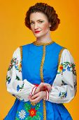 image of national costume  - The girl in national costume in Eastern Europe - JPG