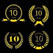 10 years anniversary laurel gold wreath, set