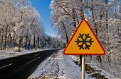 Winter Road, Driving Through Snowy Forest, Warning Sign