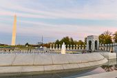 Washington DC - World War II Memorial and Washington Monument at evening