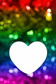 Blank of greeting card with rainbow bokeh background