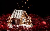 Holiday Gingerbread House On Dark Background