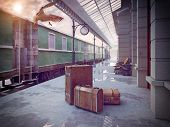 luggage on the retro railway train station .3D concept