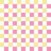 Pink, white and yellow checkered seamless pattern