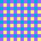 Vivid cyan, purple and yellow checkered seamless background pattern