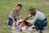 Two Mongolians cut mutton meat, Harhorin, Mongolia.