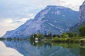 postcard views of the landscape Tolbino alpine lake