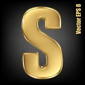 picture of solid  - Vector letter S from gold solid alphabet - JPG
