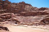 Beautiful red rock formations in Petra Jordan