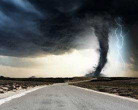 picture of doomsday  - Powerful tornado and lightning above countryside road - JPG